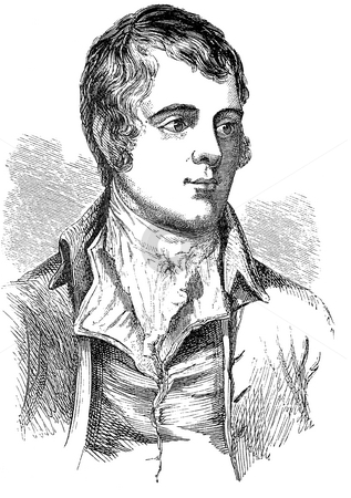 Robert Burns stock photo, Engraving of Scottish pet Robert or Robbie Burns, with white background. Published in book circa 1850 by unknown engraver. Public domain image by virtue of age. by Martin Crowdy