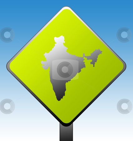 India road sign stock photo, India green diamond shaped road sign with gradient blue sky background. by Martin Crowdy