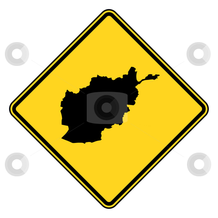 Afghanistan road sign stock photo, Afghanistan map road sign in yellow, isolated on white background. by Martin Crowdy