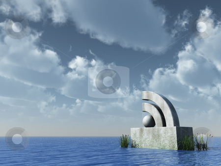 Rss symbol stock photo, Rss symbol under cloudy blue sky - 3d illustration by J?