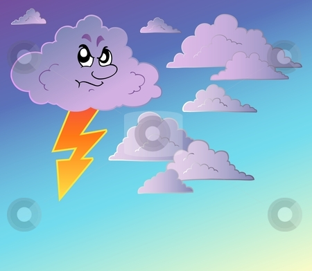 Stormy sky with cartoon clouds stock vector clipart, Stormy sky with cartoon clouds - vector illustration. by Klara Viskova