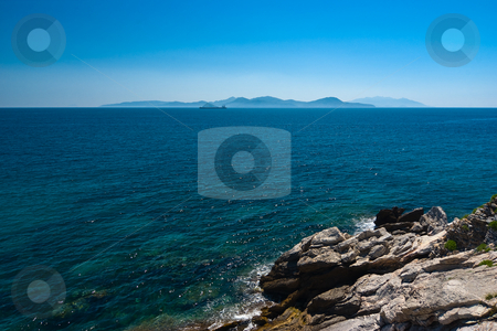 Meerblick bei Piombino/Elba - Seaview at Piombino/Elba stock photo, Piombino ist eine Stadt in der italienischen  Provinz Livorno - Piombino is a town and comune  in the province of Livorno (Tuscany), Italy, on the border between the Ligurian Sea and the Tyrrhenian Sea, in front of Elba Island and at the northern side of Maremma. by Wolfgang Heidasch