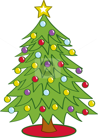 Christmas tree stock vector clipart cartoon christmas tree decorated
