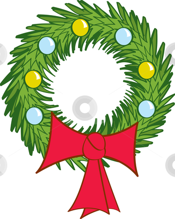 Christmas Wreath stock vector clipart, A decorated Christmas Wreath with a big red bow. by Jamie Slavy