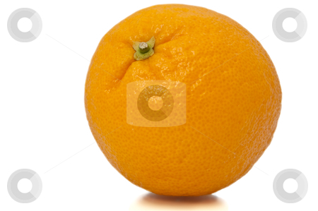 Single whole orange. stock photo, Close and low level of isolated whole orange over white. by Samantha Craddock