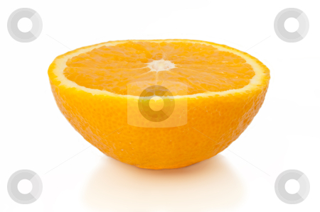 Orange half. stock photo, Close and low level capturing half an orange isolated over white. by Samantha Craddock