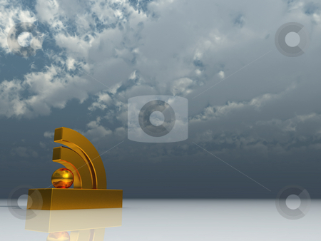 Rss stock photo, Rss symbol under cloudy blue sky - 3d illustration by J?