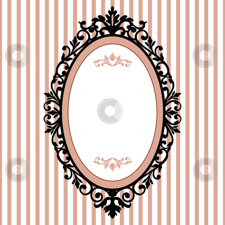 Decorative oval vintage frame stock vector clipart, Decorative oval frame on the pink background with space for your text by Ela Kwasniewski