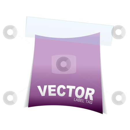 Label tag icon pink curve stock vector clipart, Pink simple piece of paper with sticky tape and shadow by Michael Travers