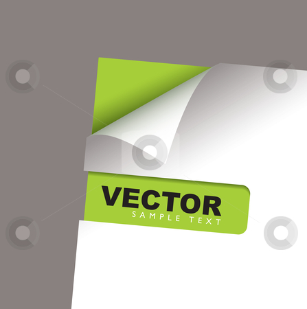 Paper corner slot green peel stock vector clipart, White paper with green card and corner peel shadow by Michael Travers