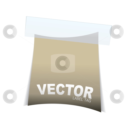 Label tag icon curve stock vector clipart, Simple paper tag with sticky tape and room for your own text by Michael Travers