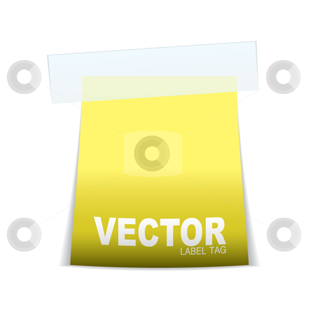 Label tag icon yellow stock vector clipart, Yellow paper tag note with sticky tape and shadow by Michael Travers