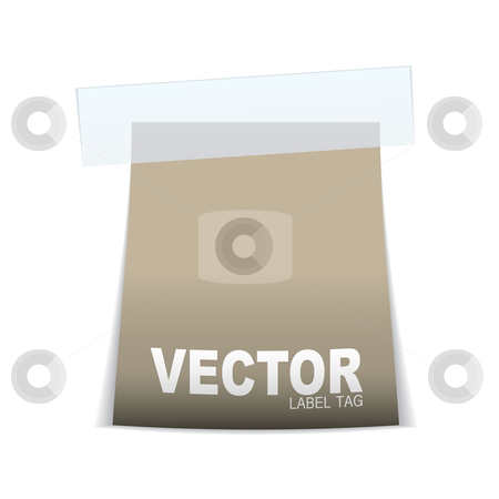 Label tag icon beige stock vector clipart, Beige or brown paper tag with sticky tape and shadow by Michael Travers