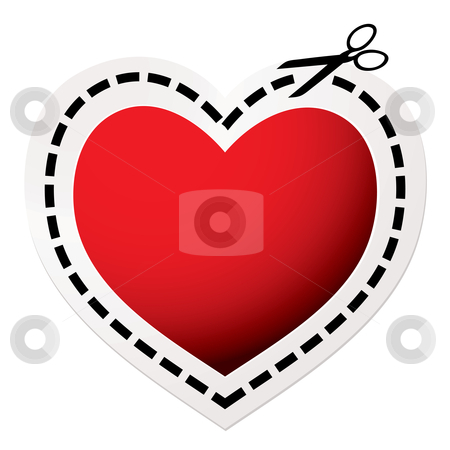 Cut out heart red stock vector clipart, Red heart icon with scissors and love concept by Michael Travers