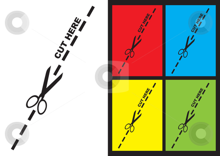 Cut along the line stock vector clipart, Cut along the dotted line logo with color variation by Michael Travers