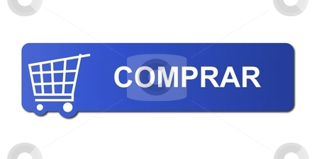 Comprar Blue stock photo, Comprar button with a shopping cart on white background. by Henrik Lehnerer