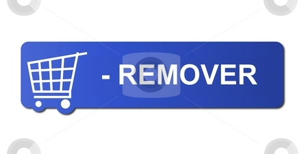 Remover Blue stock photo, Remover button with a shopping cart on white background. by Henrik Lehnerer