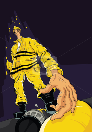 Fireman Reaching For Hose stock vector clipart, Dramatic, hand-drawn illustration of a fireman reaching for a fire hose. by Michael Durey