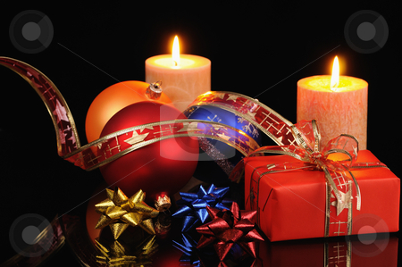 Christmas decorations stock photo, Christmas decoration with candles on a black background by Salauyou Yury