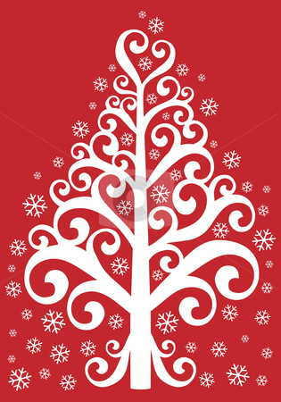 Ornamental christmas tree stock vector clipart, Decorative christmas tree with snowflakes on red background, vector by Beata Kraus