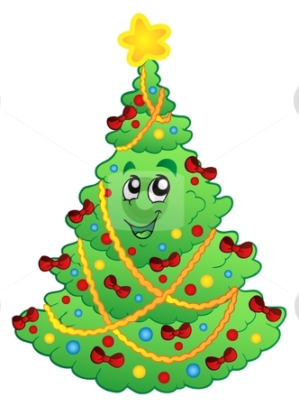 Decorated Christmas tree 1 stock vector clipart, Decorated Christmas tree 1 - vector illustration. by Klara Viskova