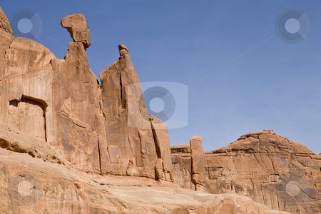 Sandstone Cliffs stock photo, Rock formation in Arches National Park, Utah, USA by mdphot