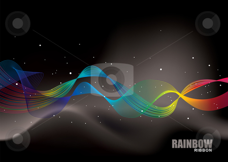 Rainbow ribbon alpha stock vector clipart, Brightly coloured rainbow ribbon background with flowing lines by Michael Travers