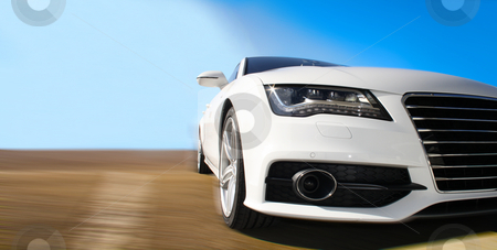 Fast Car stock photo, White Sports Car on a colorful background by Viktor Thaut