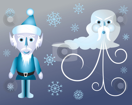 Jack Frost and Old Man Winter stock vector clipart, Jack Frost and Oldman Winter surrounded by snowflakes by Jamie Slavy