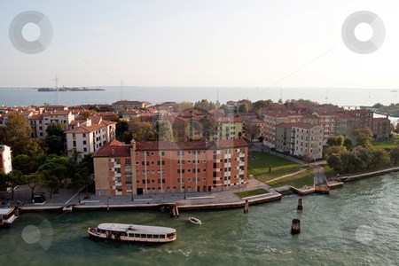 Venice stock photo, A cityscape view of Venice, Italy from high above the water. by Kevin Tietz