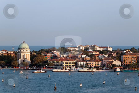 Venice at Sunset stock photo, A cityscape view of Venice, Italy from high above the water. by Kevin Tietz