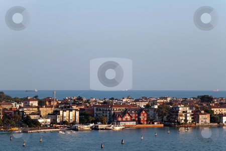 Venice Waterway stock photo, A cityscape view of Venice, Italy from high above the water. by Kevin Tietz