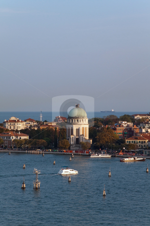 Venice Tower stock photo, A cityscape view of Venice, Italy from high above the water. by Kevin Tietz