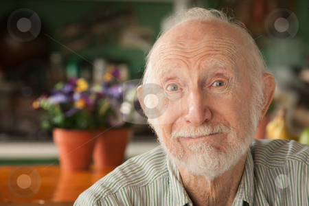 Handsome elder stock photo, Handsome senior man at home in his house by Scott Griessel
