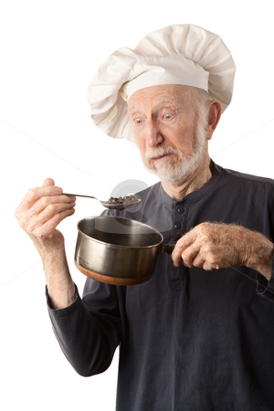 Funny senior chef stock photo, Funny senior chef with big white hat and pot of beans by Scott Griessel
