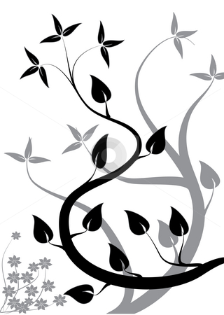 A black and white abstract floral background stock photo, A black and white abstract floral background illustration with a stylized tree design on a white background by Mike Price