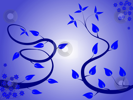 An abstract floral background ilustratio stock photo, An abstract floral background ilustration with winding vines on a lighter blue graduated backdrop by Mike Price