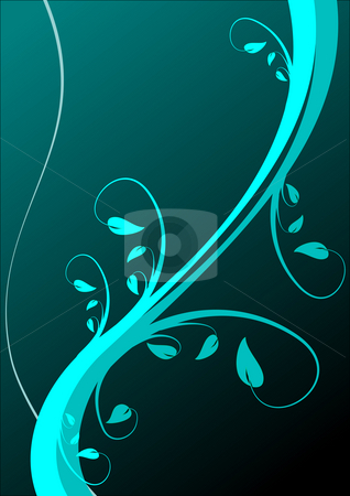 An abstract cyan floral background  stock photo, An abstract cyan floral background with room for text by Mike Price