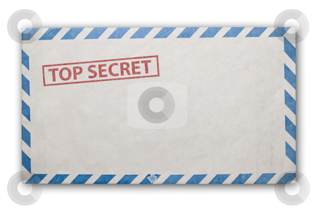 Old top secret envelope isolated. stock photo, Open  envelope with top secret stamp, clipping path excludes the shadow. by Pablo Caridad