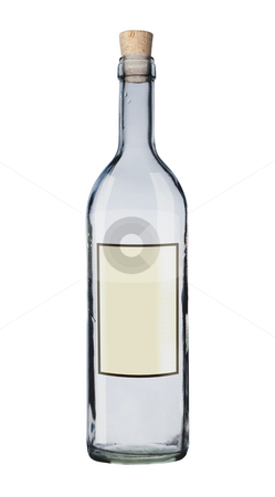 Message in a bottle. stock photo, Bottle with label isolated. by Pablo Caridad