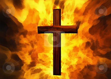Flaming Cross Christian Art stock photo, Flaming Cross Christian Art