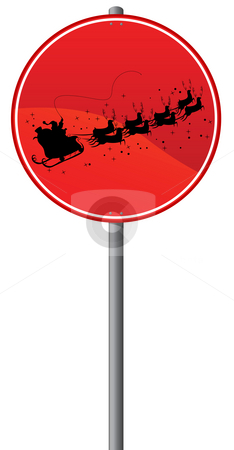 Flying Reindeer stock photo, Flying Reindeer warning sign, isolated object over white background by Richard Laschon
