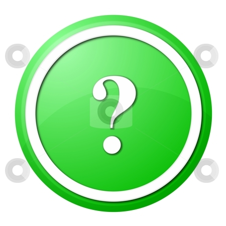 Green question mark round button stock photo, Round question mark button with white ring for web design and presentation by Henrik Lehnerer