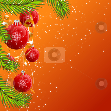Christmas background stock vector clipart, Abstract Christmas background with decorations and stars by Vadym Nechyporenko