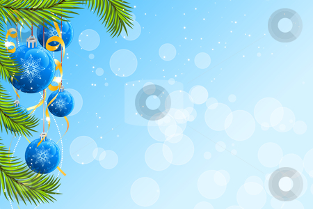Christmas background stock vector clipart, Abstract Christmas background with firtree and balls by Vadym Nechyporenko