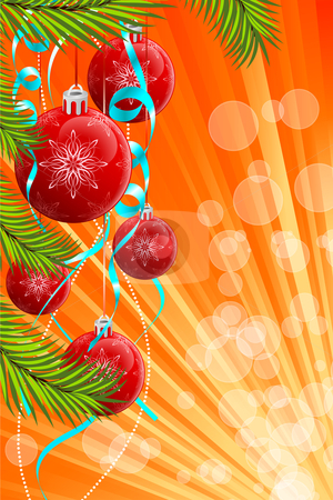Christmas background stock vector clipart, Abstract Christmas background with fir-tree and balls by Vadym Nechyporenko