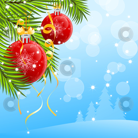 Christmas background stock vector clipart, Abstract Christmas background with Christmas tree and Christmas Balls by Vadym Nechyporenko