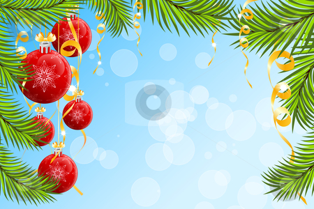 Christmas background stock vector clipart, Christmas background with Christmas tree branch and Christmas Balls by Vadym Nechyporenko