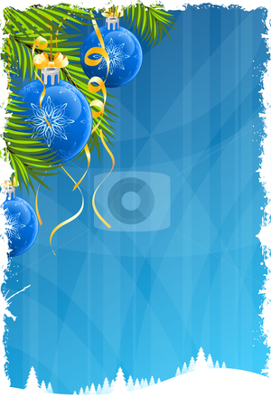 Grunge Christmas background stock vector clipart, Grunge Christmas background with Christmas tree and decoration by Vadym Nechyporenko