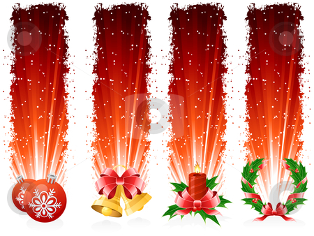 Grunge Christmas banner stock vector clipart, Grunge Four red Christmas banners with Christmas symbols by Vadym Nechyporenko